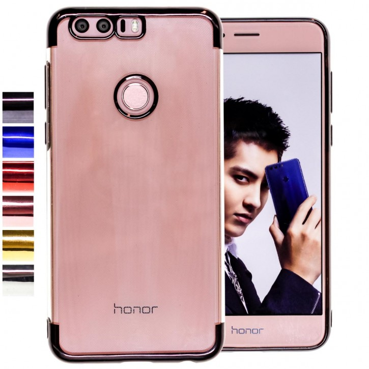 COOVY® Cover für Huawei Honor 8 leichtes, ultradünnes TPU Silikon Bumper Case, transparente Hülle, Chrom Rahmen |