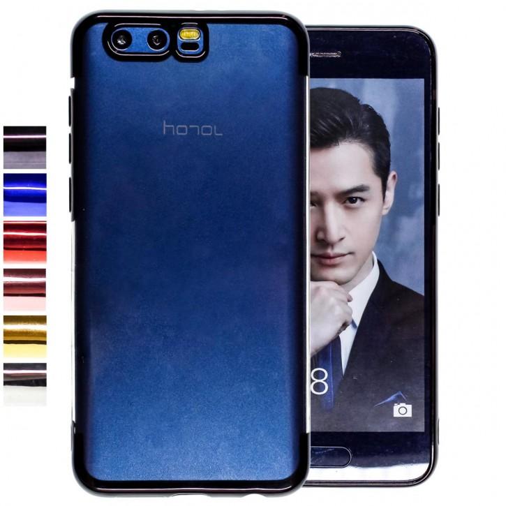 COOVY® Cover für Huawei Honor 9 leichtes, ultradünnes TPU Silikon Bumper Case, transparent, Chrom Rahmen