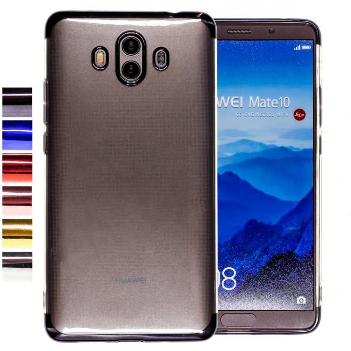 COOVY® Cover für Huawei Mate 10 leichtes, ultradünnes TPU Silikon Bumper Case, transparent, Chrom Rahmen