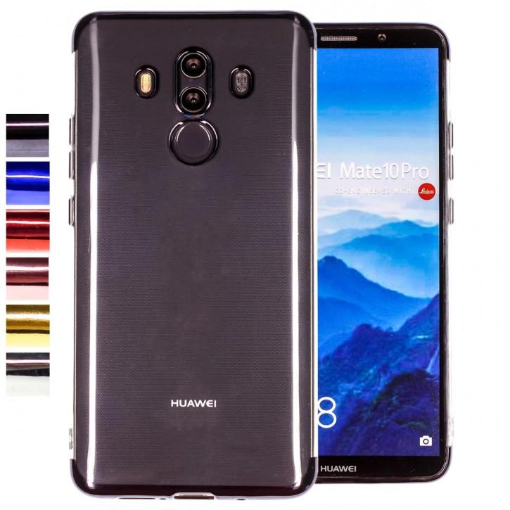 COOVY® Cover für Huawei Mate 10 pro leichtes, ultradünnes TPU Silikon Bumper Case, transparent, Chrom Rahmen