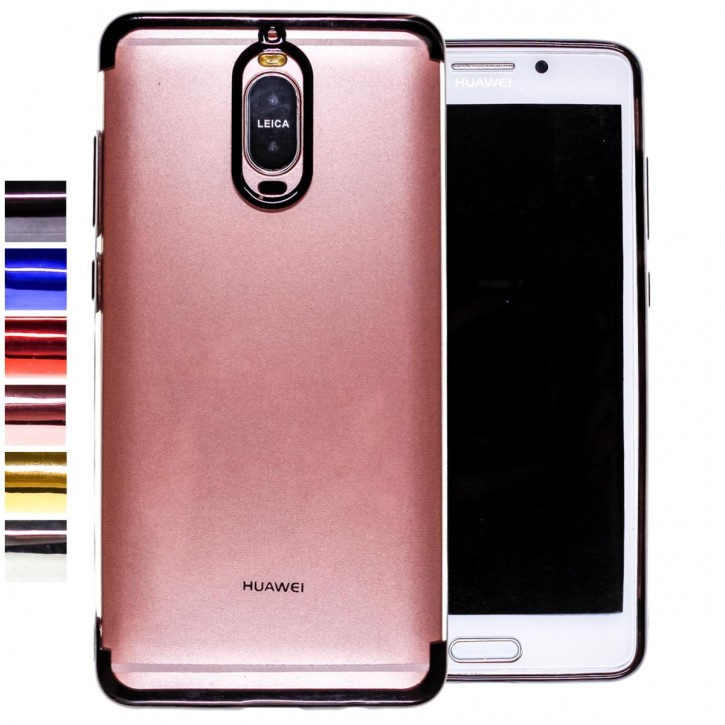 COOVY® Cover für Huawei Mate 9 pro leichtes, ultradünnes TPU Silikon Bumper Case, transparente Hülle, Chrom Rahmen |