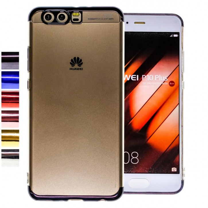 COOVY® Cover für Huawei P10 + plus leichtes, ultradünnes TPU Silikon Bumper Case, transparent, Chrom Rahmen