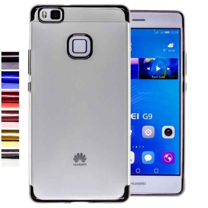 COOVY® Cover für Huawei P9 lite / G9 lite leichtes, ultradünnes TPU Silikon Bumper Case, transparent, Chrom Rahmen