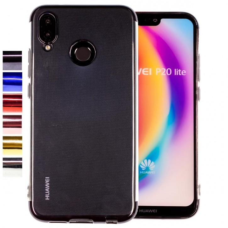 COOVY® Cover für Huawei P20 lite leichtes, ultradünnes TPU Silikon Bumper Case, transparente Hülle, Chrom Rahmen |