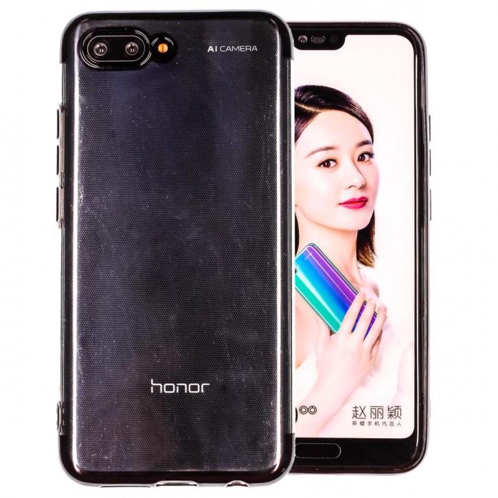COOVY® Cover für Huawei Honor 10 leichtes, ultradünnes TPU Silikon Bumper Case, transparent, Chrom Rahmen