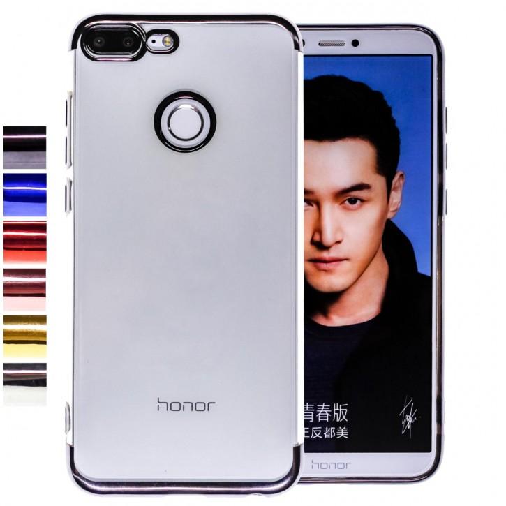 COOVY® Cover für Huawei Honor 9 Lite leichtes, ultradünnes TPU Silikon Bumper Case, transparente Hülle, Chrom Rahmen |