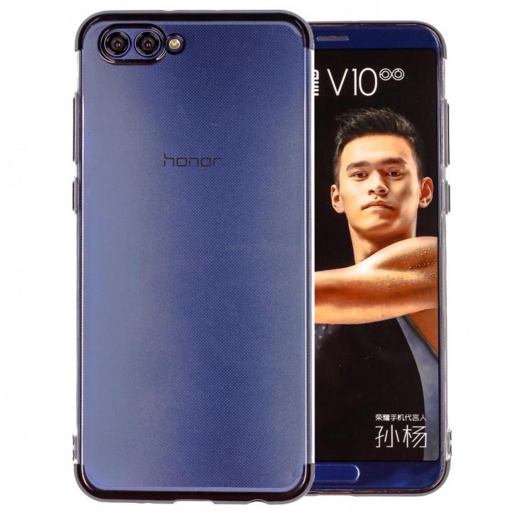 COOVY® Cover für Huawei Honor View 10 / V10 leichtes, ultradünnes TPU Silikon Bumper Case, transparente Hülle, Chrom Rahmen |