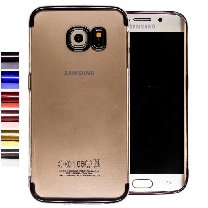 COOVY® Cover für Samsung Galaxy S6 EDGE SM-G925F SM-G925 leichtes, ultradünnes TPU Silikon Bumper Case, transparente Hülle, Chrom Rahmen |