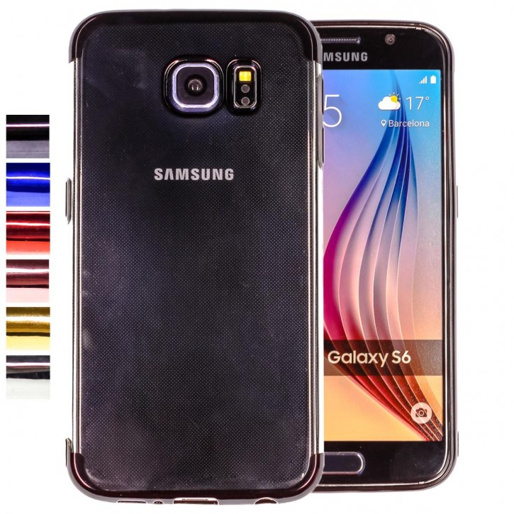 COOVY® Cover für Samsung Galaxy S6 SM-G920F SM-G920 leichtes, ultradünnes TPU Silikon Bumper Case, transparent, Chrom Rahmen
