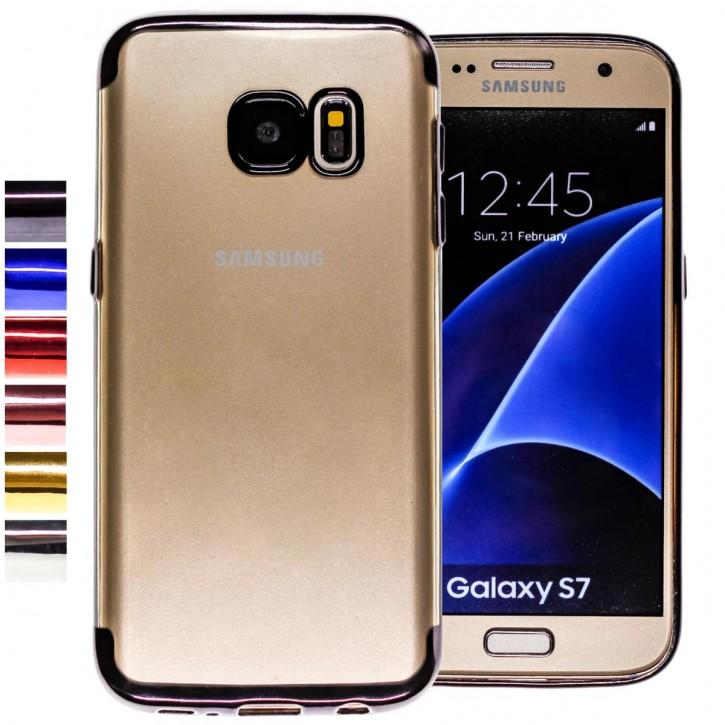 COOVY® Cover für Samsung Galaxy S7 SM-G930F SM-G930 leichtes, ultradünnes TPU Silikon Bumper Case, transparent, Chrom Rahmen