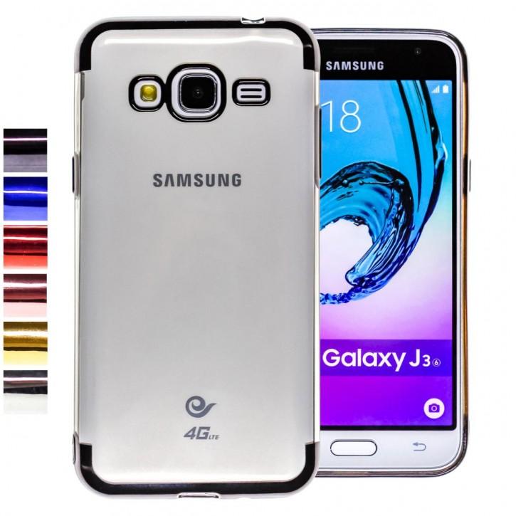 COOVY® Cover für Samsung Galaxy J3 SM-J310 SM-J320 (Model 2015 / 2016) leichtes, ultradünnes TPU Silikon Bumper Case, transparente Hülle, Chrom Rahmen |