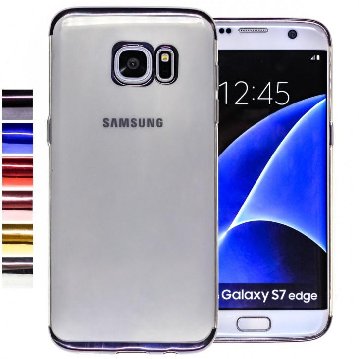 COOVY® Cover für Samsung Galaxy S7 EDGE SM-G935F SM-G935 leichtes, ultradünnes TPU Silikon Bumper Case, transparent, Chrom Rahmen