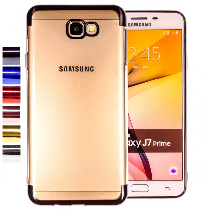 COOVY® Cover für Samsung Galaxy J7 prime SM-G610Y /Duos SM-G610F / DS / On7 leichtes, ultradünnes TPU Silikon Bumper Case, transparent, Chrom Rahmen