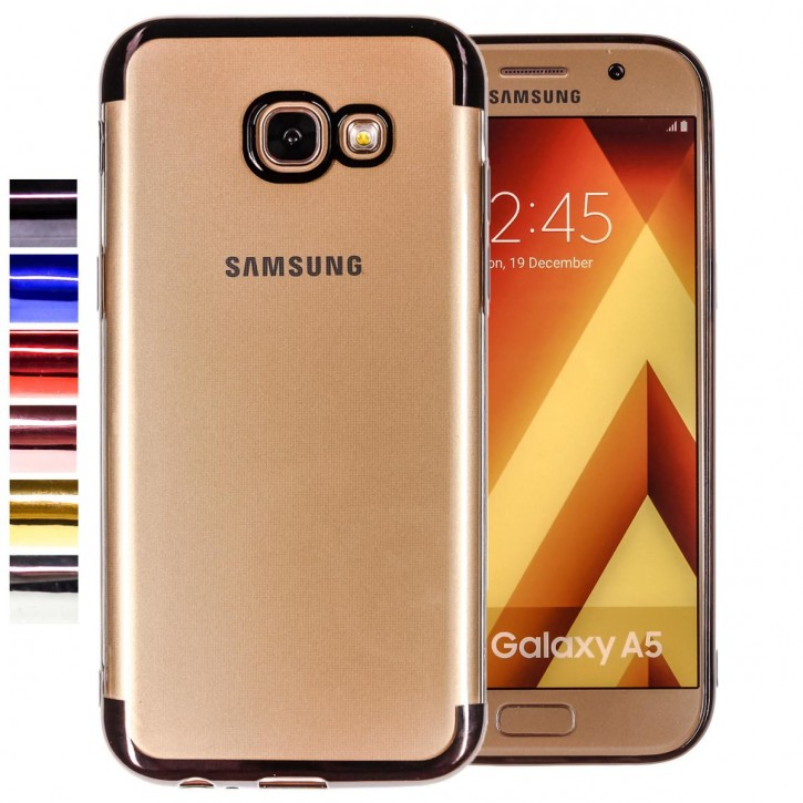 COOVY® Cover für Samsung Galaxy A5 SM-A520 / SM-A520F (Model 2017) leichtes, ultradünnes TPU Silikon Bumper Case, transparent, Chrom Rahmen