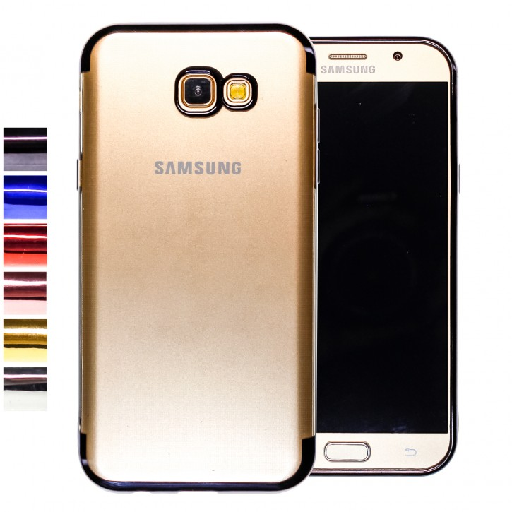 COOVY® Cover für Samsung Galaxy A7 SM-A720 / SM-A720F (Model 2017) leichtes, ultradünnes TPU Silikon Bumper Case, transparent, Chrom Rahmen
