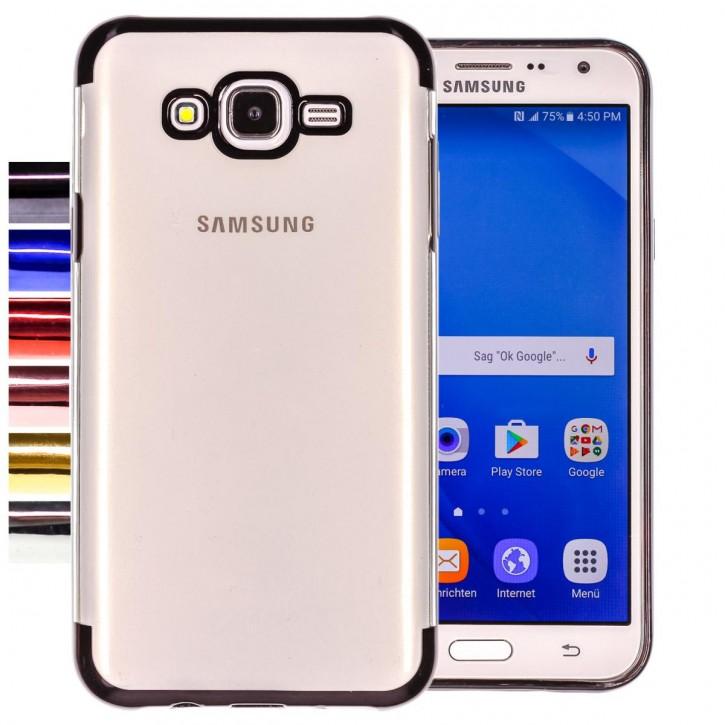 COOVY® Cover für Samsung Galaxy J7 SM-J700 / SM-J700F / SM-J700F/DS (Model 2015) leichtes, ultradünnes TPU Silikon Bumper Case, transparent, Chrom Rahmen