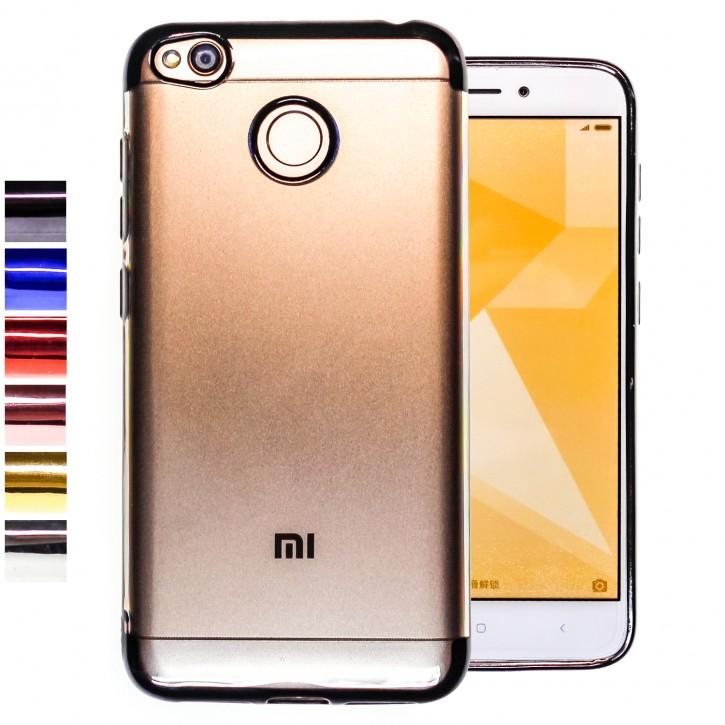 COOVY® Cover für Xiaomi Redmi 4 / 4X leichtes, ultradünnes TPU Silikon Bumper Case, transparente Hülle, Chrom Rahmen |