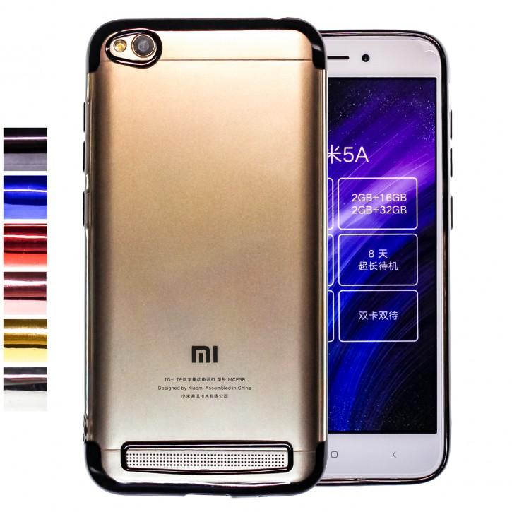 COOVY® Cover für Xiaomi Redmi 5A leichtes, ultradünnes TPU Silikon Bumper Case, transparent, Chrom Rahmen