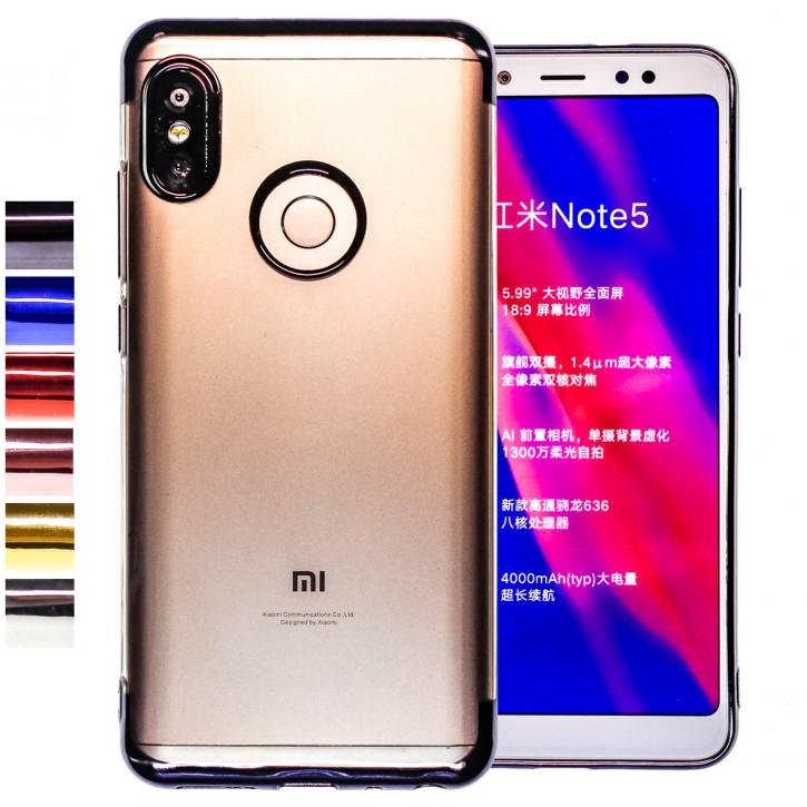COOVY® Cover für Xiaomi Redmi Note 5 / Redmi 5 plus leichtes, ultradünnes TPU Silikon Bumper Case, transparent, Chrom Rahmen