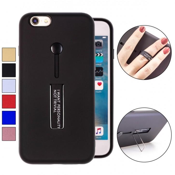 COOVY® Cover für Apple iPhone 6 / 6s Bumper Case, Hülle, Doppelschicht aus Plastik + TPU-Silikon mit Halteschlaufe, Standfunktion |
