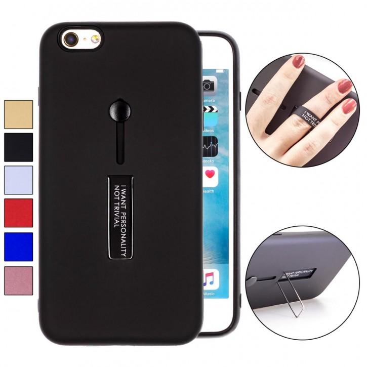 COOVY® Cover für Apple iPhone 6 + plus Bumper Case, Hülle, Doppelschicht aus Plastik + TPU-Silikon mit Halteschlaufe, Standfunktion  