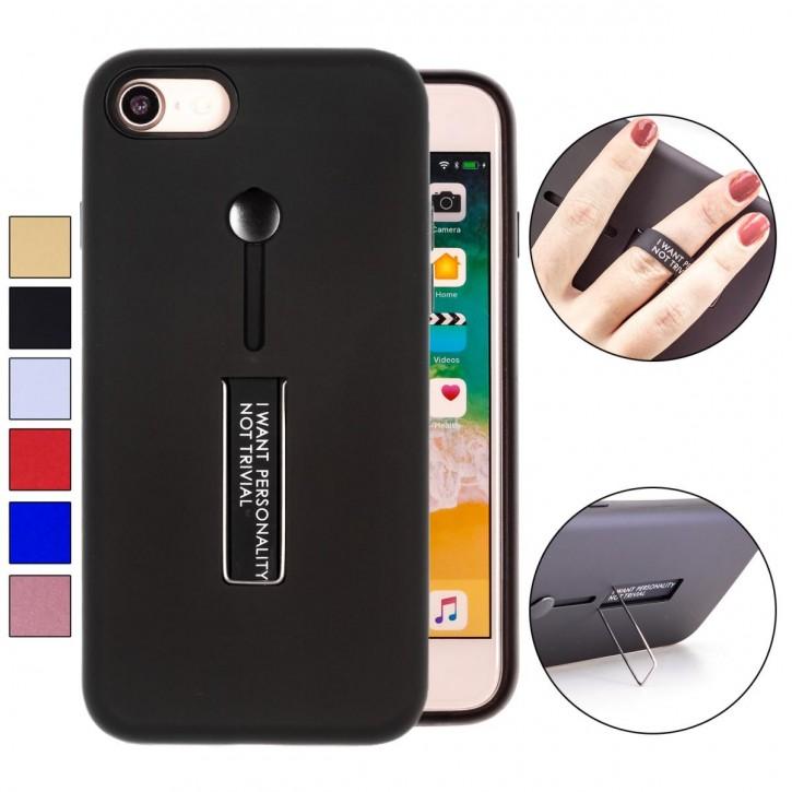 COOVY® Cover für Apple iPhone 7 / 8 Bumper Case, Hülle, Doppelschicht aus Plastik + TPU-Silikon mit Halteschlaufe, Standfunktion |