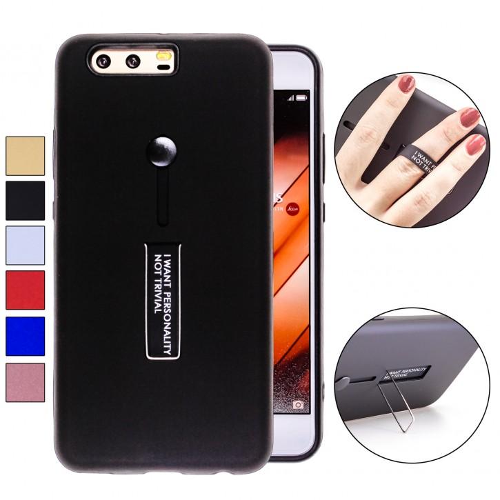 COOVY® Cover für Huawei P10 + plus Bumper Case, Doppelschicht aus Plastik + TPU-Silikon mit Halteschlaufe, Standfunktion
