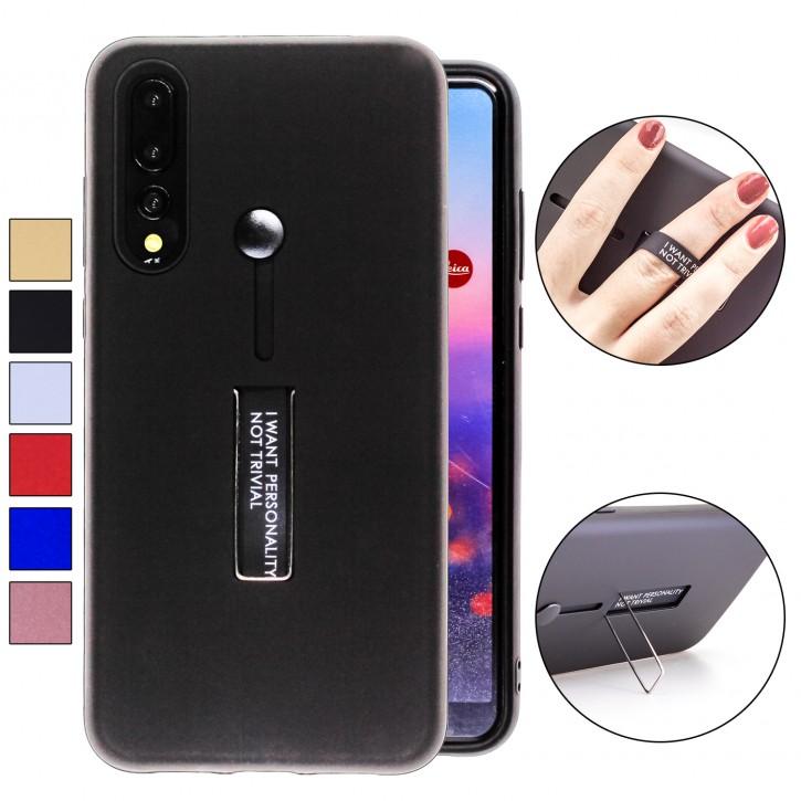 COOVY® Cover für Huawei P20 pro Bumper Case, Doppelschicht aus Plastik + TPU-Silikon mit Halteschlaufe, Standfunktion