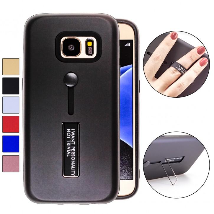 COOVY® Cover für Samsung Galaxy S7 SM-G930F SM-G930 Bumper Case, Doppelschicht aus Plastik + TPU-Silikon mit Halteschlaufe, Standfunktion