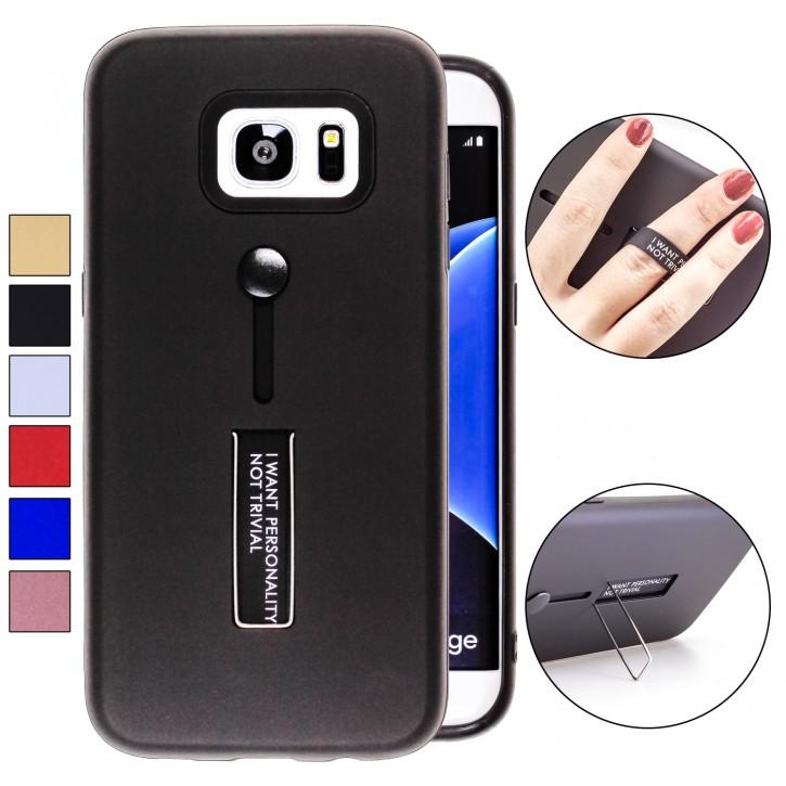 COOVY® Cover für Samsung Galaxy S7 EDGE SM-G935F SM-G935 Bumper Case, Doppelschicht aus Plastik + TPU-Silikon mit Halteschlaufe, Standfunktion