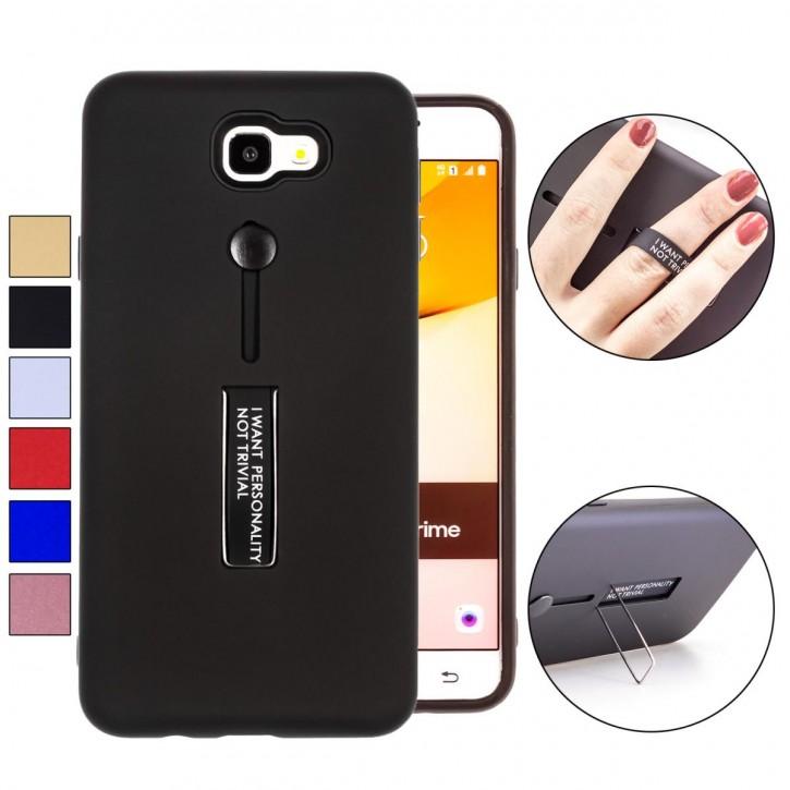 COOVY® Cover für Samsung Galaxy J7 prime SM-G610Y /Duos SM-G610F / DS / On7 Bumper Case, Doppelschicht aus Plastik + TPU-Silikon mit Halteschlaufe, Standfunktion
