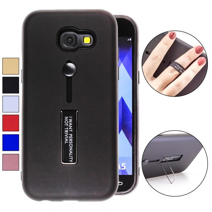 COOVY® Cover für Samsung Galaxy A5 SM-A520 / SM-A520F (Model 2017) Bumper Case, Doppelschicht aus Plastik + TPU-Silikon mit Halteschlaufe, Standfunktion