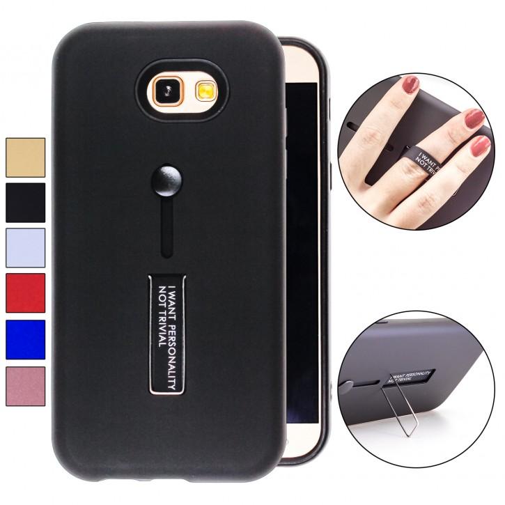 COOVY® Cover für Samsung Galaxy A7 SM-A720 / SM-A720F (Model 2017) Bumper Case, Doppelschicht aus Plastik + TPU-Silikon mit Halteschlaufe, Standfunktion