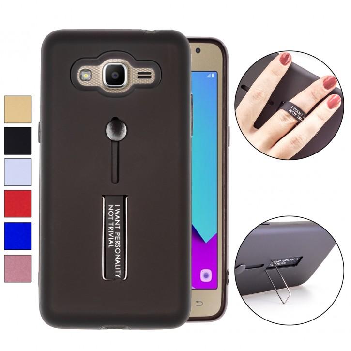 COOVY® Cover für Samsung Galaxy J2 prime SM-G532G / SM-G532M / SM-G532F/DS Bumper Case, Doppelschicht aus Plastik + TPU-Silikon mit Halteschlaufe, Standfunktion