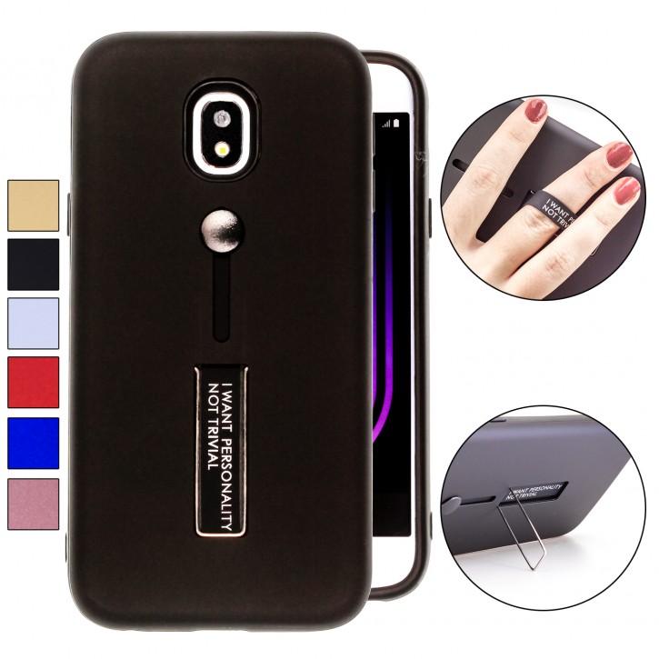 COOVY® Cover für Samsung Galaxy J3 SM-J330G / SM-J330F/DS (Model 2017) / J3 pro Bumper Case, Hülle, Doppelschicht aus Plastik + TPU-Silikon mit Halteschlaufe, Standfunktion |