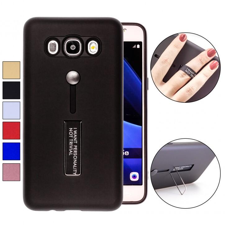 COOVY® Cover für Samsung Galaxy J5 SM-J510 SM-J510F/DS (Model 2016) Bumper Case, Hülle, Doppelschicht aus Plastik + TPU-Silikon mit Halteschlaufe, Standfunktion |