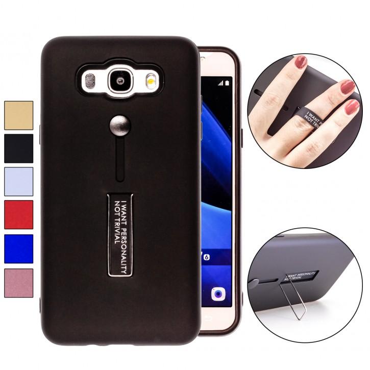 COOVY® Cover für Samsung Galaxy J7 SM-J710 / SM-J710FN / SM-J710F/DS (Model 2016) Bumper Case, Doppelschicht aus Plastik + TPU-Silikon mit Halteschlaufe, Standfunktion