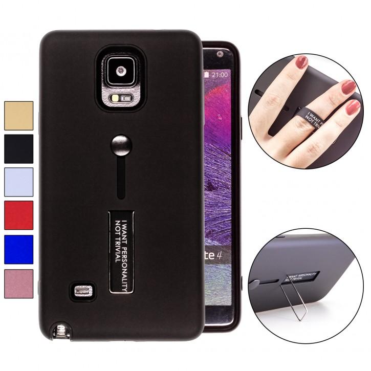 COOVY® Cover für Samsung Galaxy Note 4 SM-N910 / SM-N910F / SM-N9100 Bumper Case, Doppelschicht aus Plastik + TPU-Silikon mit Halteschlaufe, Standfunktion