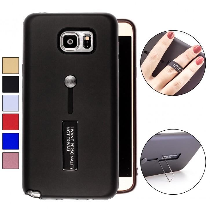 COOVY® Cover für Samsung Galaxy Note 5 SM-N920 / SM-920F Bumper Case, Doppelschicht aus Plastik + TPU-Silikon mit Halteschlaufe, Standfunktion