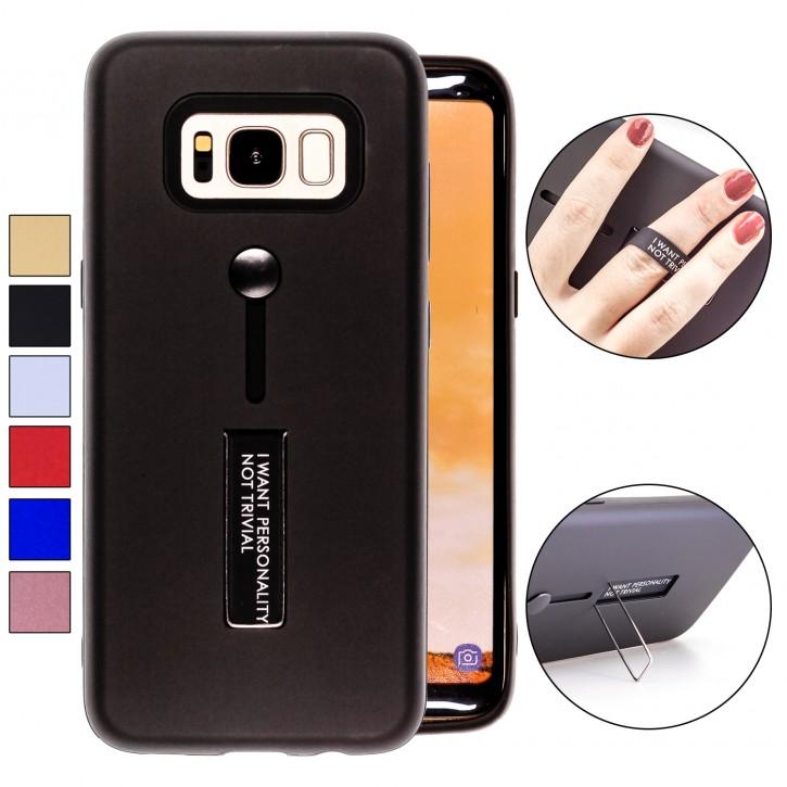 COOVY® Cover für Samsung Galaxy S8 SM-G950F / SM-G950FD Bumper Case, Doppelschicht aus Plastik + TPU-Silikon mit Halteschlaufe, Standfunktion