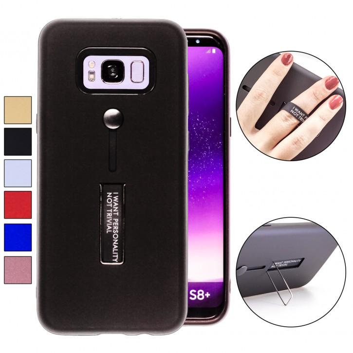 COOVY® Cover für Samsung Galaxy S8 + plus SM-G955F / SM-G955FD Bumper Case, Doppelschicht aus Plastik + TPU-Silikon mit Halteschlaufe, Standfunktion