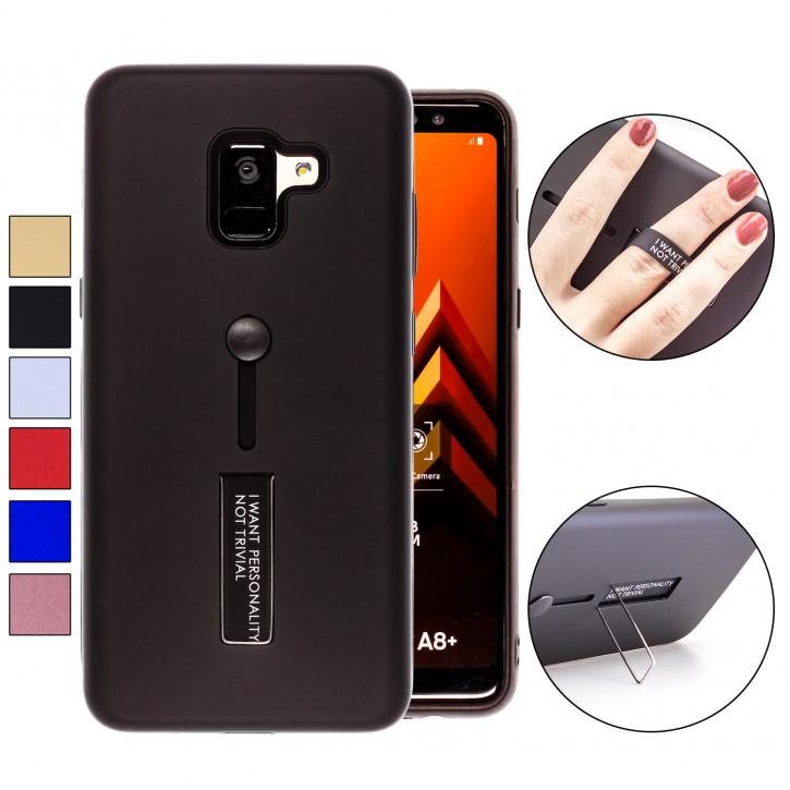 COOVY® Cover für Samsung Galaxy A8 + plus  SM-A730 / SM-A730F/DS (Model 2018) Bumper Case, Doppelschicht aus Plastik + TPU-Silikon mit Halteschlaufe, Standfunktion
