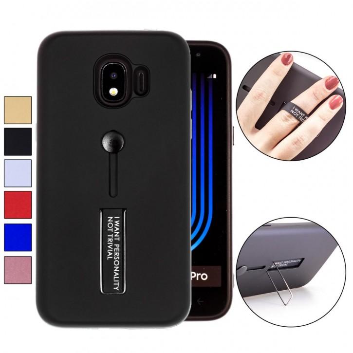 COOVY® Cover für Samsung Galaxy J2 Grand Prime pro SM-J250F/DS (Model 2018) Bumper Case, Doppelschicht aus Plastik + TPU-Silikon mit Halteschlaufe, Standfunktion