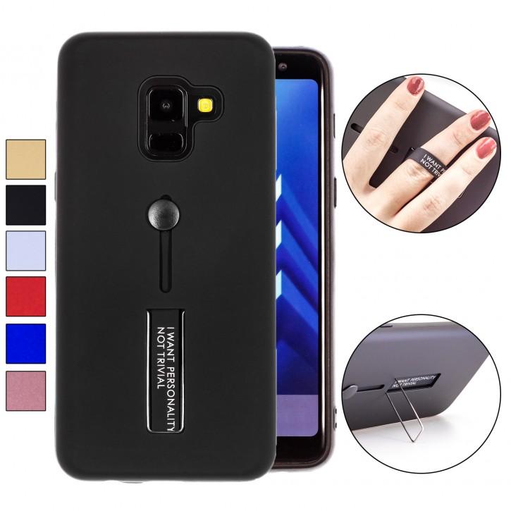 COOVY® Cover für Samsung Galaxy A6 SM-A600 / SM-A600F/DS (Model 2018) Bumper Case, Doppelschicht aus Plastik + TPU-Silikon mit Halteschlaufe, Standfunktion