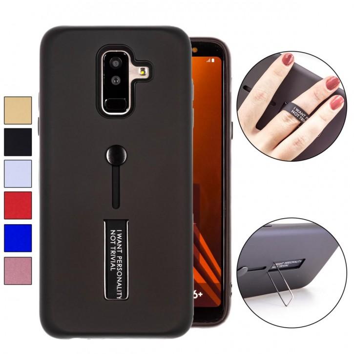 COOVY® Cover für Samsung Galaxy A6 + plus  SM-A605 / SM-A605F/DS (Model 2018) Bumper Case, Doppelschicht aus Plastik + TPU-Silikon mit Halteschlaufe, Standfunktion
