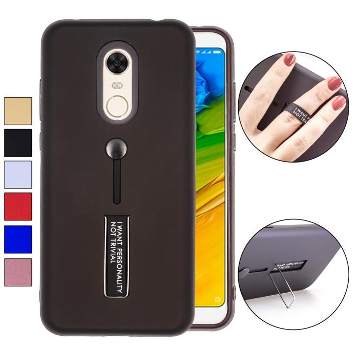 COOVY® Cover für Xiaomi Redmi Note 5 / Redmi 5 plus Bumper Case, Doppelschicht aus Plastik + TPU-Silikon mit Halteschlaufe, Standfunktion