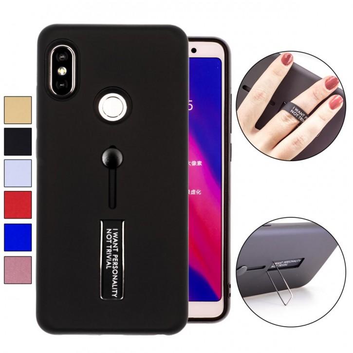 COOVY® Cover für Xiaomi Redmi Note 5 pro Bumper Case, Doppelschicht aus Plastik + TPU-Silikon mit Halteschlaufe, Standfunktion