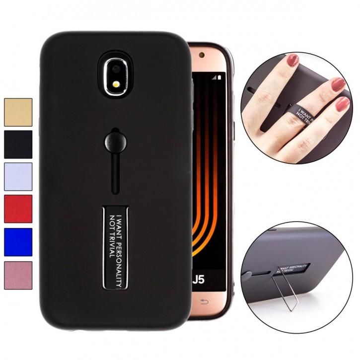 COOVY® Cover für Samsung Galaxy J5 SM-J530 / SM-J530F/DS (Model 2017) / J5 pro Bumper Case, Doppelschicht aus Plastik + TPU-Silikon mit Halteschlaufe, Standfunktion