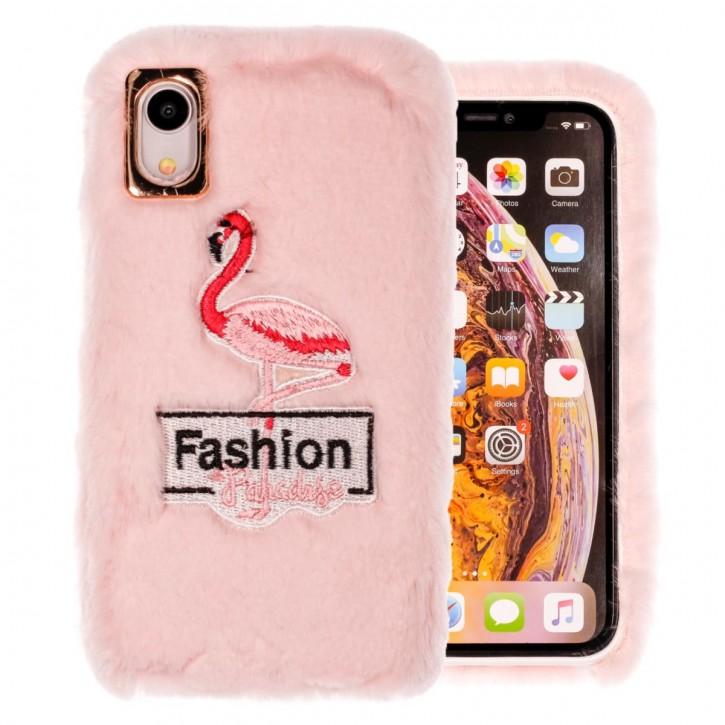 COOVY® Cover für Apple iPhone Xr leichtes TPU Bumper Case mit flauschig kuscheligen Fell-Imitat und trendigen gestickten Flamingo-Motiv