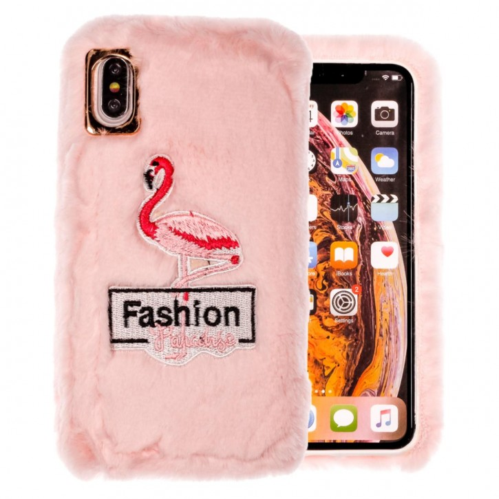 COOVY® Cover für Apple iPhone Xs Max leichtes TPU Bumper Case mit flauschig kuscheligen Fell-Imitat und trendigen gestickten Flamingo-Motiv